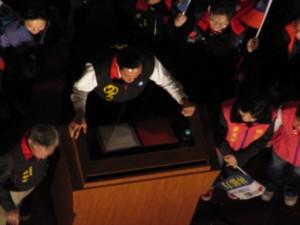 President Ma Ying Jiu giving a speech at the Presidential Rally